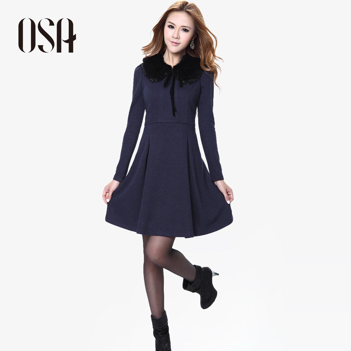 OSA2012秋冬季新品女装 冬日裙装收腰长袖冬款针织连衣裙子L21658 价格:323.70