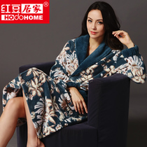 2013秋冬新品 红豆居家女士珊瑚绒睡袍中国风优雅家居服浴袍 价格:118.00