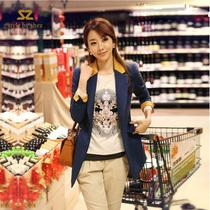 韩国sz秋装时尚撞色挽袖拼领一粒扣侧拉链宝蓝色小西装短外套大码 价格:423.72