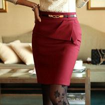 特 styleonme韩国代购进口正品秋款淑女OL荷叶边修身半身裙中裙 价格:297.35