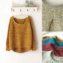 2013秋冬日系新款圆领不规则下摆针织毛衣 蝙蝠袖套头女装毛衣 价格:58.00