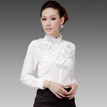2013秋装新款打底衫韩版职业装OL女 士雪纺衬衫 立领长袖白色衬衣 价格:75.00