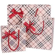 新款韩版 时尚肉色格子纹图案礼品袋 生日礼物纸袋 回礼袋 手提袋 价格:1.30