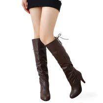【特卖疯抢】2013新款春秋pu皮黑色特价女鞋防水台高跟高筒女靴子 价格:58.00