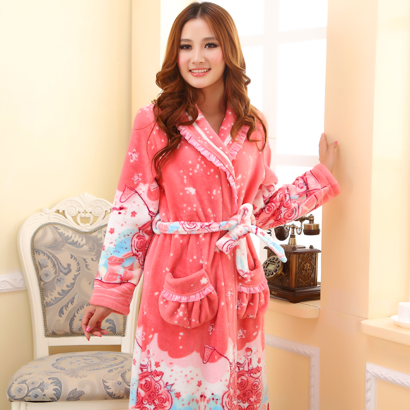 舒服歌 秋冬季女士珊瑚绒睡袍女冬天加厚可爱法兰绒睡衣 特价浴袍 价格:89.00