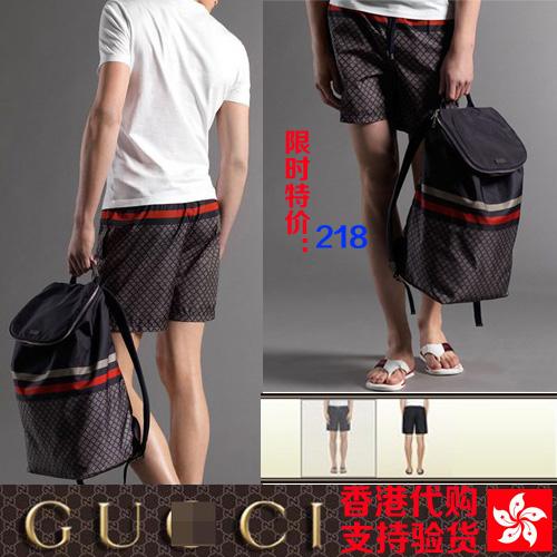 2013香港专柜正品 GUCCI/古驰运动休闲裤修身薄款男士短裤五分裤 价格:858.00