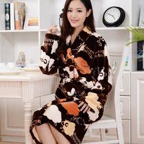 莎菲蒂尔加厚法兰绒面料印花冬季女款小羊女式睡袍正品促销浴袍聚 价格:59.08
