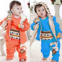 童装男女童冬装2013新款套装韩版儿童加厚加绒三件套宝宝冬季服装 价格:89.00
