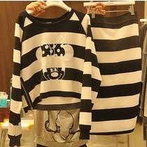 韩国东大门代购 2013秋装新款黑白横条纹米奇卫衣半身裙休闲套装 价格:129.00