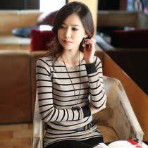 秋装新款2013女装韩版 打底衫 女中长款条纹包臀潮长袖 T恤 价格:49.00