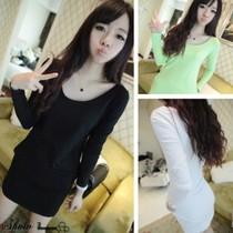 2013秋装 韩版大领口口袋莫代尔显瘦打底衫纯色单品TEE  F22 价格:18.00