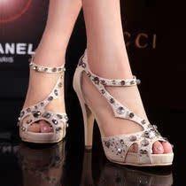 2013新款水钻 鱼嘴 高跟 凉鞋 韩国检察官公主鞋 婚鞋水晶鞋包邮 价格:168.00