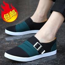 英伦风休闲鞋男士帆布鞋男韩版板鞋时尚潮流扣边单鞋子男鞋子 价格:69.00
