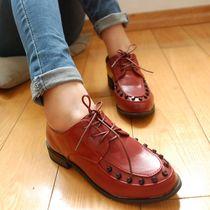 包邮!13款欧美低跟粗跟铆钉系带低帮鞋单鞋帅气休闲百搭女鞋新品 价格:44.80