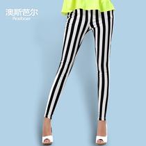 2013秋季新款女装 黑白竖条纹裤显瘦铅笔裤潮 弹力休闲小脚长裤子 价格:89.00