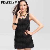 太平鸟女装装新款 无袖雪纺连衣裙 甜美圆领层叠荷叶边 价格:138.00