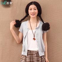 茵曼 2013夏装新款蕾丝拼接纯色短款雪纺开衫 空调衫女Y822022531 价格:99.00