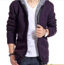男士毛衫2013新款秋冬款马克华菲连帽加厚男士针织衫开衫外套GX4 价格:168.00