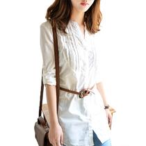 秋装新款日式休闲通勤两用中长款经典修身白衬衫送腰带 女士衬衣 价格:65.00