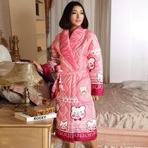 睡袍 女士 秋冬季加厚加棉夹棉可爱卡通珊瑚绒睡衣冬天浴袍家居服 价格:135.20