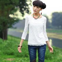 裂帛2013新款 纯色 蕾丝拼接 七分袖圆领T恤 女 51130538青果 邮 价格:159.00