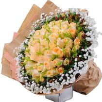 中秋情人节66朵香槟玫瑰花束张家口沧州任丘衡水鲜花速递花店订花 价格:258.00