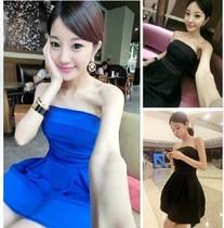 小丸子 夏季新款 高贵名媛 格纹大宽裙摆 气质抹胸连衣裙#4514 价格:23.52