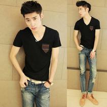 2013夏装新款韩版男装时尚条纹贴布口袋短袖V领T恤男士潮流上衣服 价格:35.55
