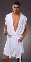 春夏睡袍浴袍男士真丝可爱性感睡衣白色 满98包邮 价格:49.00