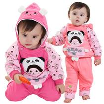 儿童装2013女童0-1-2岁宝宝秋冬装一岁婴儿夹棉衣服运动两件套装 价格:58.00
