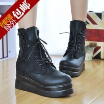 包邮13秋冬新款女靴马丁靴坡跟厚底松糕鞋骷髅头内增高短靴女鞋子 价格:44.55