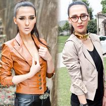 品质女装2013新款圆领短款PU夹克小皮衣斜拉链修身夹克外套OMP107 价格:49.00