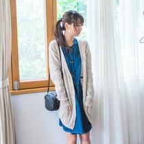 「空气猫」秋冬新款 森女风文艺 粗毛线双口袋长袖中长款毛衣外套 价格:129.90