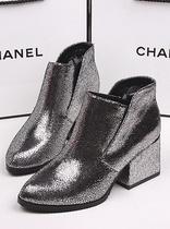欧美街拍新款名媛尖头锡纸皮面性感高跟短靴OL时尚粗跟女鞋潮鞋 价格:134.85