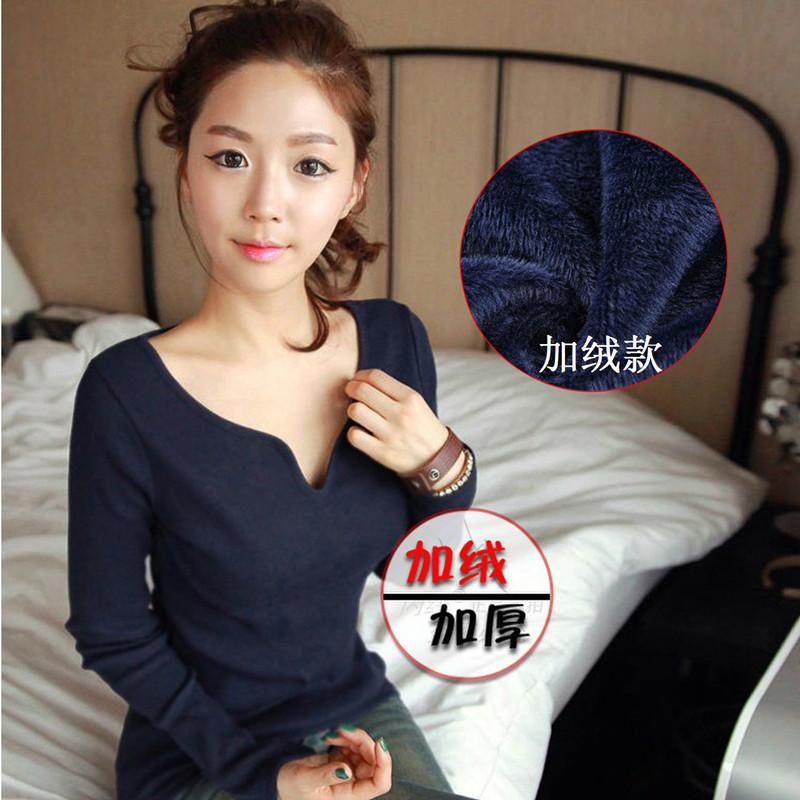 秋冬大码女装韩国长袖T恤V领修身显瘦保暖加绒加厚打底衫韩版小衫 价格:39.00