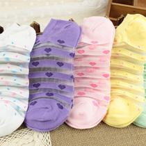 外贸原单日系复古森系竹纤维水晶丝袜波点碎花船袜短袜子女批发 价格:1.99