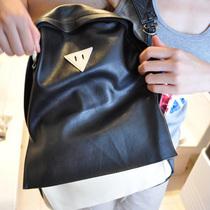 新品包包双肩包中学生背包初中生书包女男黑色米白色pu皮包学院风 价格:38.50