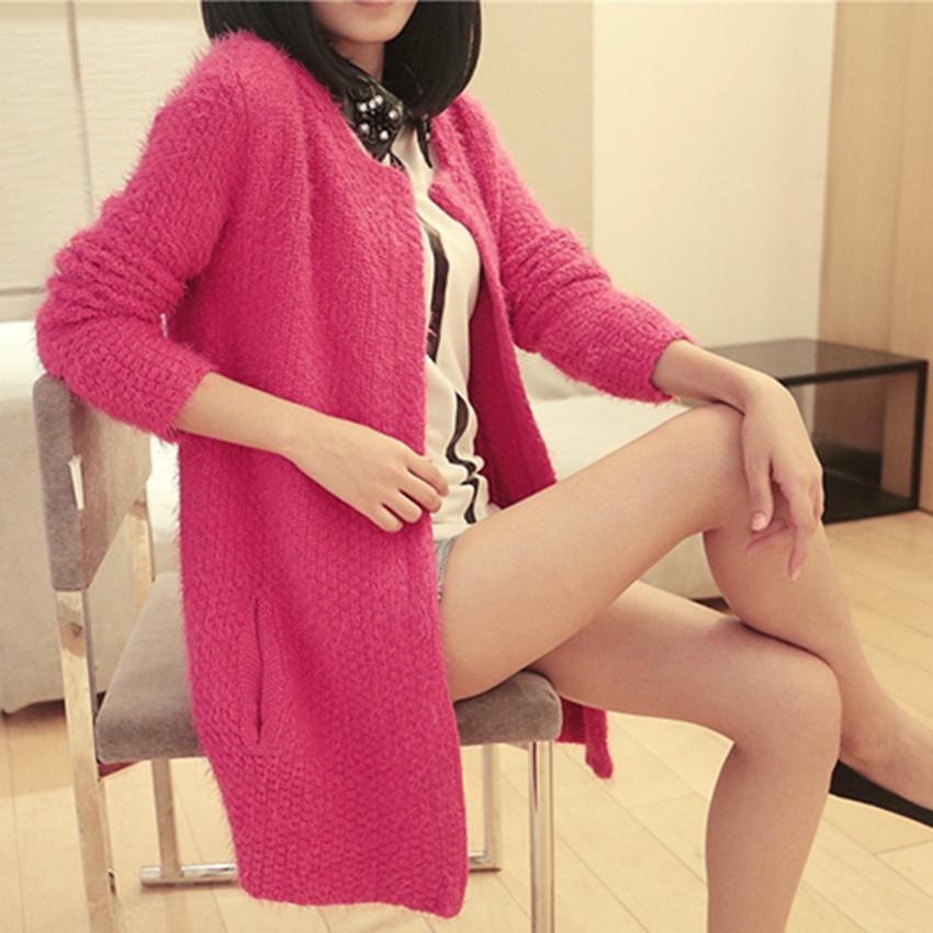 秋装韩版简约圆领长袖中长款 毛衣加厚针织开衫外套女针织衫 价格:54.99