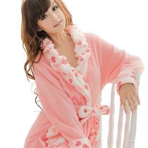 【前800名49元】 胭脂红 女士冬季珊瑚绒睡袍浴袍长袖家居服浴衣 价格:59.90