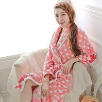 【加厚不掉毛】桃心小熊冬季女士长袖法兰绒睡袍浴袍促销 714 价格:79.00