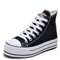 2013新款人本帆布鞋 韩版潮松糕厚底高帮帆布鞋增高鞋黑色女鞋子 价格:55.00