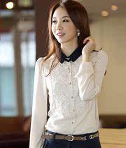 2013秋装新款韩版女修身休闲 雪纺衫 长袖 衬衫女打底衫女士衬衣 价格:59.00