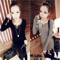蘑菇街女装秋装新款韩版上衣 修身显瘦打底衫 金边装饰长款T恤 潮 价格:19.00