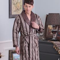 黛梦思冬季加厚三层珊瑚绒夹棉男士睡衣格子睡袍 家居服男加长款 价格:168.00