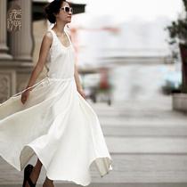 若溯 无袖棉麻背心大摆连衣裙 原创纯色圆领长款长裙2013夏季新品 价格:199.00