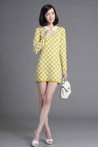 清新双层方格提花 烫钻小翻领羊绒羊毛修身连衣裙 三色无折 A20 价格:128.00