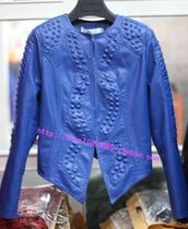 欧洲站欧美秋装新款韩版铆钉PU皮衣女装圆领短款修身皮夹克外套潮 价格:225.00