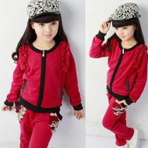 2013韩版春秋季女童套装 运动拉链衫长袖+裤子2件套 流行休闲女童 价格:72.00