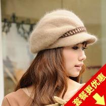 韩版兔毛毛线帽子 秋冬季圆顶针织驼色海军帽 女士宽檐鸭舌贝雷帽 价格:46.00