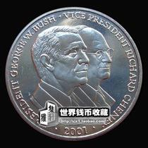 特卖全新利比里亚5元硬币美国总统布什与切尼 稀少版精美非洲钱币 价格:14.50